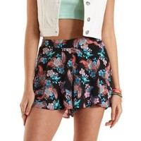 Black Combo Hawaiian Print High-Waisted Shorts by Charlotte Russe