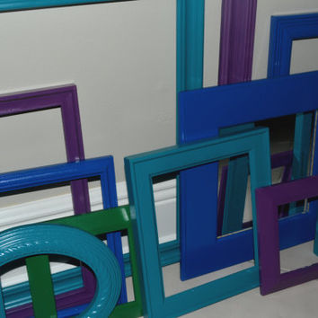 Peacock Colors Picture Frames Grouping - Peacock Picture Frames Set - Peacock Wall Decor - Modern Picture Frames