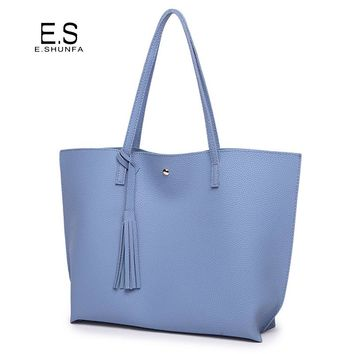 Fashion Casual Shoulder Bags For Women 2018 PU Leather Tote Bag With Tassel Large Capacity Soft Hasp Single Shoulder Woman Bag