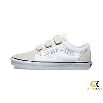 CLEARANCE - Vans Old Skool V + Crystals - True White - Size 5