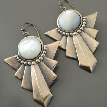 Vintage Earrings - Mother of Pearl Earrings - Art Deco Earrings - Vintage Brass Jewelry - handmade earrings