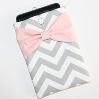 Tablet Case - Microsoft, Acer, Samsung, Asus, Motorola, HP - Gray Chevron with Pink Bow & Pocket - Padded