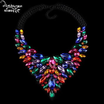 Dvacaman Brand 2016 Rhinestone Necklace&Pendants Women Wedding Party Statement Necklace Choker Collar Custom Jewelry Bijoux A21