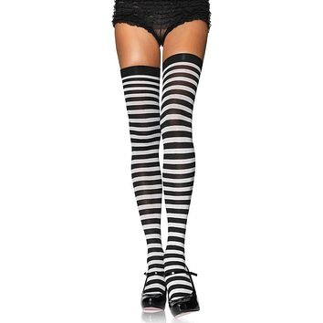 Pushing The Limits Horizontal Stripe Thigh High Stockings Tights Hosiery - 10 Colors Available