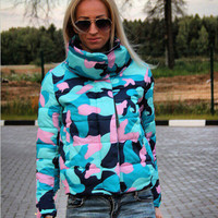 Fashion high - necked coat jacket Camouflage blue