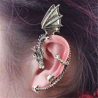2016 Hot Sale -Personality Complex Gothic Punk Dragon Shaped Non Pierced Ear Cuff Earrings -E040