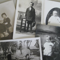 Vintage children up for adoption ~ 5 sepia photo postcards