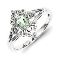 Sterling Silver Green Quartz Diamond Ring