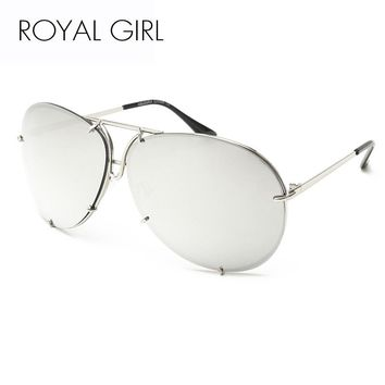 Royal Retro Oval Coating Mirror Sunglasses