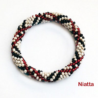 Black Red Beige Roll On Bracelet Crochet Bead Rope 4 Pieces Niatta