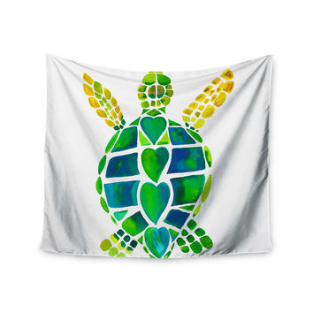 "Catherine Holcombe ""Turtle Love"" Green Teal Wall Tapestry"