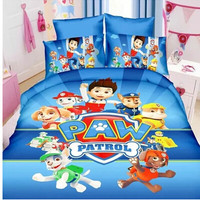 Paw patrol 5/6 PCS twin/single size Queen Boys bedding set Duvet cover And Bed sheet pillow case bed linen set