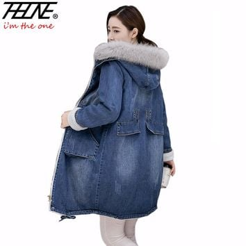Brand Denim Jacket Women Faux Fur Coat Long Parka Warm Fleece Velvet Pockets Hoody Outwear Manteau Denim Coat Jeans Parka Female