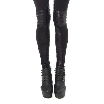 Biker Moto Leggings - Panelled Leggings - Black Jersey and Pleated Coated Jersey
