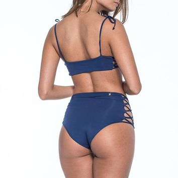 MALAI Cape Retro Navy High Waist Bottom