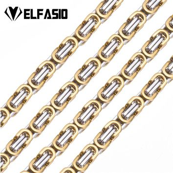 Elfasio Men's Necklace Stainless Steel Chain for Men Women Gold Black Silver Color Byzantine Jewelry Customized Length
