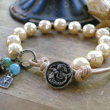 Knotted bracelet - Mermaid Song - leather, wrap, hammered pearl bracelet, beach, Bohemian jewelry, boho sundance, rhinestones silver charm