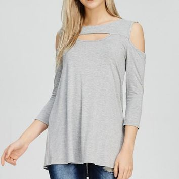 Cold Shoulder 3/4 Sleeve Sweetheart Cut Out Neckline Top - Heather Grey