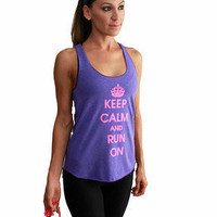 Keep Calm and Run On American Apparel tank in Tri-Orchid with Neon Pink Print