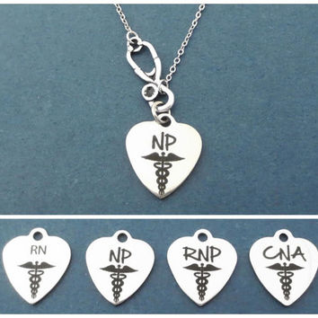 Personalized, Initial, RN, NP, RNP, CnA, Stethoscope, Heart, Silver, Necklace, Doctor, Nurse, Medical, Necklace, Gift, Jewelry