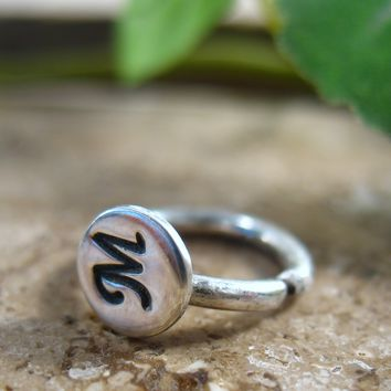 Belly Ring Sterling Silver Initial 12mm