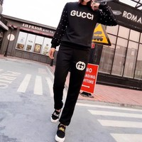 """Gucci"" Women Fashion Pearl Logo Letter Long Sleeve Trousers Set Two-Piece Sportswear"