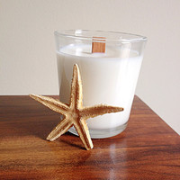 Caribbean teak wood masculine scent soy candle white natural minimal wooden wickfathers day for him tropical beach glass jar
