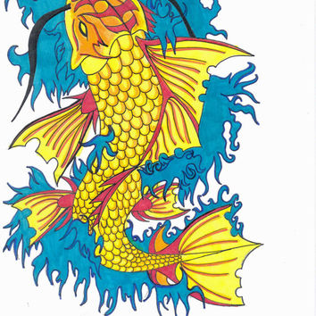 Koi Fish Art, Fish Drawing, Tattoo Art, Colorful Art, Mixed Media Drawing, Print