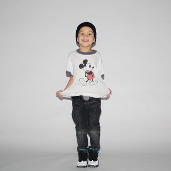 Kid's Vintage 1970s  Mickey Mouse Ringer T-Shirt