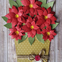 Flower Pot Card, Poinsettia Flower Pot, Christmas Card, Handmade Card
