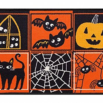 Midnight Market Accent Throw Rug Patchwork Halloween No Skid Kitchen Mat 20x30