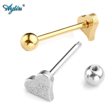 Ayliss 4pcs 14Ga (1.6mm) Percing Labret Bar Lip Ring Stainless Steel Silvery/Golden Heart Sand Blasting Leveraged Tongue Rings