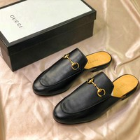 Gucci Princetown Embroidered Black Leather Slipper Sandals - Best Online Sale