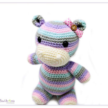Crochet Multicolor Hippopotamus Amigurumi Doll - Stripes Animal Stuffed Toy - Baby Gift MADE TO ORDER