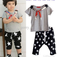 2015 Summer Boys Set Children Short Sleeve Tops And Star Shorts With Scarf 3 PCS Set Kids Clothes