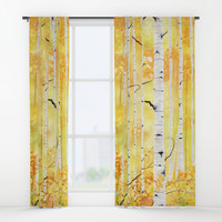 Autumn Birch Window Curtains by mellyterpening