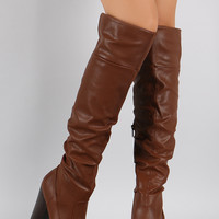 Bamboo Slouchy Chunky Heeled Over-The-Knee Boots
