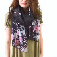 Black Floral + Petals Printed Scarf, Floral Print Scarf, Summer Scarf, Fashion Woman Scarf, Flower Print