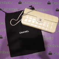 Chanel Beige Creme Sand Patent Quilted Leather Clutch Shoulder bag Purse