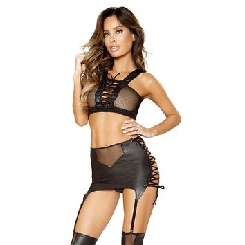 Sexy Black Murdered Faux Leather Lace-up Set With Adjustable Garters