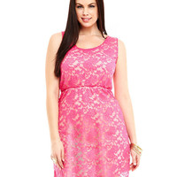 Plus Size Pink Floral Lace Sleeveless Dress
