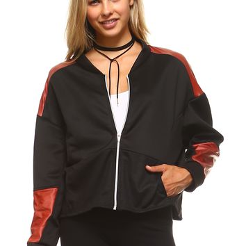 Women's faux Leather Patch Bomber Jacket