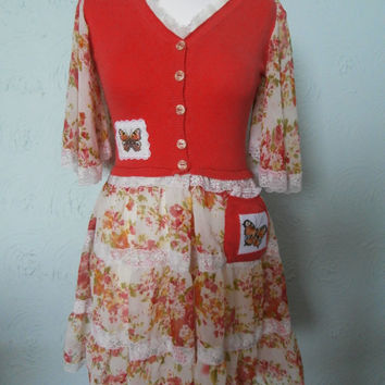 Upcycled Dress 'Flutterby' UK size 8/10 (US size 4/6)