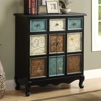 Monarch I 3893 Distressed Apothecary Bombay Chest - Black / Multi-color | Hayneedle