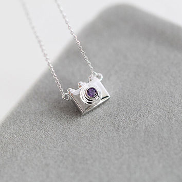 New Arrival Gift Jewelry Shiny 925 Silver Accessory Stylish Camera Diamonds Lock Korean Necklace [8379704711]