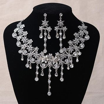 Luxury Silver Crystal Flowers Bridal Jewelry Set Statement Necklace Earrings Rhinestones