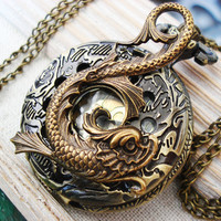 Kio fish- fabulous Asian inspired Koi fish with rich detailed floral carved vintage pocket watch necklace