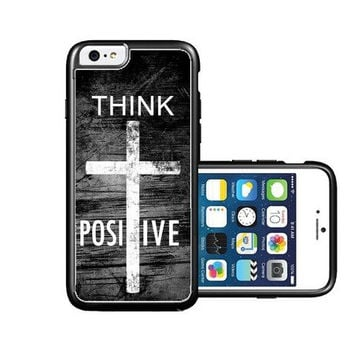 RCGrafix Brand Springink Hipster Quote Think Positive Grunge Cross iPhone 6 Case - Fits NEW Apple iPhone 6