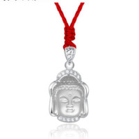 Crystal Buddha head silver frame diamonds necklace