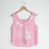 Pink Crop Top, Coachella Top. Vintage Maui Beach Club. Vintage Flower Print Top. Vintage Coachella Tank. Large Crop Top. Maui Pink and White